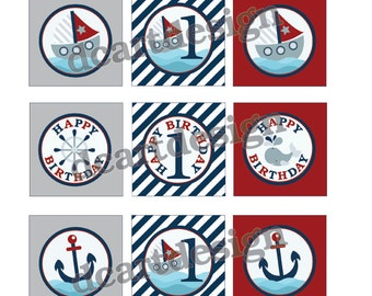 Printable Nautical Cupcake Toppers and Stickers. Navy and Red. First Birthday Printables. INSTANT DOWNLOAD.