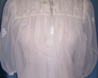 SALE 1960 Sheer White Lace Bed Jacket Medium