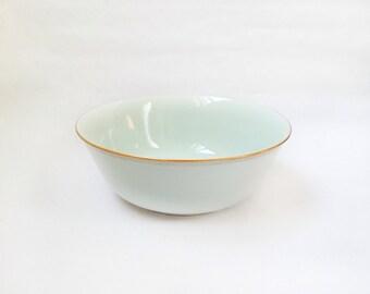Vintage Swiss Langenthal Porcelain Bowl - Robin's Egg Blue w/ Gold Trim