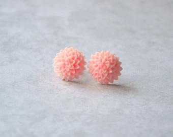 SALE Sweet Pink Resin Mum Flower Earrings - Mum Chrysanthemum 15mm x 8mm resin mum flower nickel free earrings