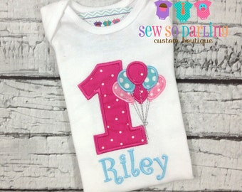 First birthday outfit girl - Baby Girl Birthday Outfit - 1st Birthday Balloon Birthday Outfit - 1st Birthday Shirt