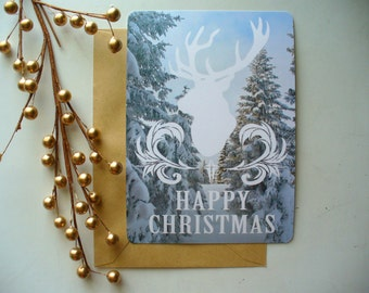 Woodland Christmas Card with White Reindeer