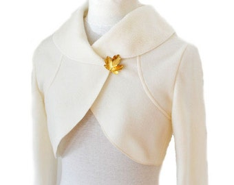 Women Fleece Wedding Bolero Bridal Jacket size XS-XL  ecru creme