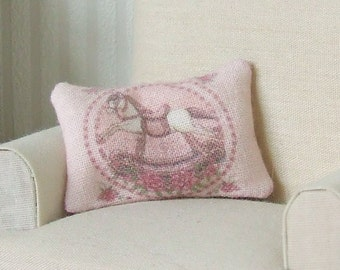Dollhouse Miniature, Rocking Horse Cushion, Dolls House Pillow, Pink Nursery Decor, Girls Bedroom, Shabby Cottage Chic, 1:12th Scale