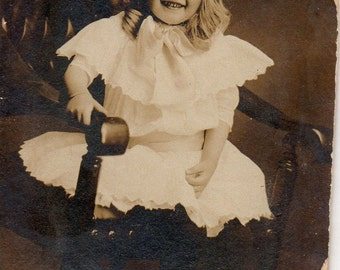 Antique Photo of Darling Little Girl in Chair