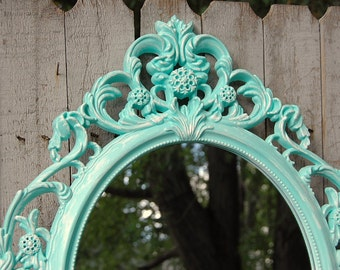 Mirror, Shabby Chic, Baroque Mirror, Mint Green, White, Wall Mirror, Hanging Mirror, Oval, Upcycled, Ornate, Wedding Decor, Hand Painted