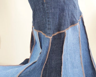 large patchwork denim skirt