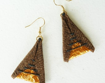 Candy for Your Ears - Brown Denim Gold and Violet Purple - Eco Friendly Triangle Earrings - Hand Stitch Geometric by upmade