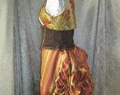 Micro-Mini Bustle Skirt in Autumn Faerie Stripe