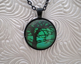 Tree pendant necklace silhouette tree necklace green necklace