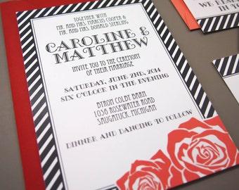 Caroline Suite - Printable Wedding Invitation and RSVP -  Vintage Modern Styling