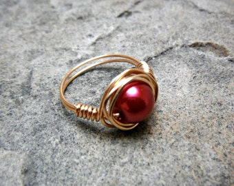 Red Pearl Ring, Wire Wrapped Ring, Red Ring, Copper Ring, Wire Wrapped Jewelry Handmade, Burgundy Ring