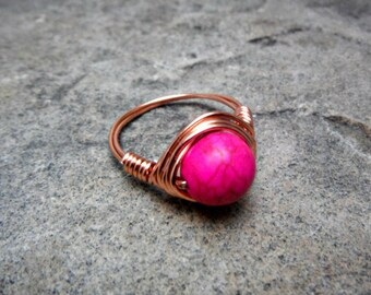 Pink Turquoise Ring, Hot Pink Ring, Wire Wrapped Ring, Copper Ring, Pink Stone Ring, Wire Wrapped Jewelry Handmade