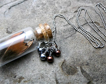 Brown Feather Necklace, Real Feather Necklace, Charm Necklace, Mini Glass Bottle Necklace, Cork Bottle Necklace, Feather Jewelry