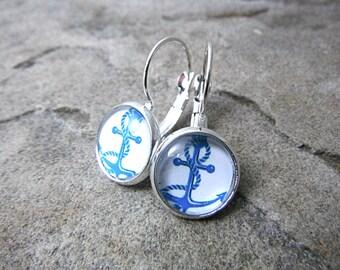 Blue Anchor Earrings, Nautical Earrings, Summer Earrings, Beach Earrings, Anchor Jewelry, Nautical Jewelry, Silver Leverback Earrings