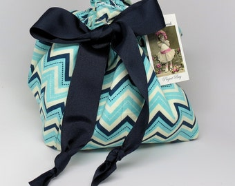 Shades of Blues Chevron - Choice of Size - Plum Creek Project Bag (B-002)