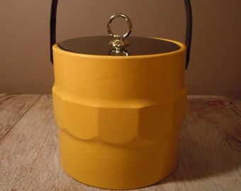 Vintage Yellow and Black Patent Ice Bucket - Retro Barware Insulated Ice Bucket