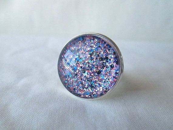 Rainbow Purple Multicolor Glitter Nail Polish Adjustable Ring: 20mm Glass Circle in Silver Tray Ring Setting
