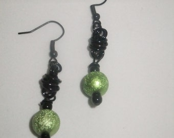 Black Coil Drop Earrings with Lime