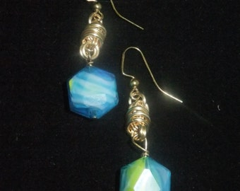 Gold Coil Drop Earrings with Blue and Green