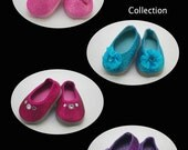 The DAZZLER Shoe Collection in FOUR Colors for American Girl or 18 inch doll Ballerina princess dressy party flats SPARKLE shoes
