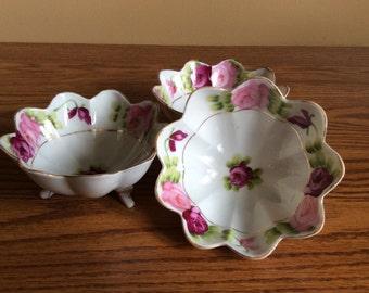 Vintage Nippon Handpainted Bowls Mayonnaise Bowls