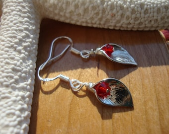 Silver Calla Lily Earrings with Red Crystal Beads