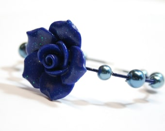 Sparkling Polymer Clay Rose Bracelets, Memory Wire Colorful Wire Wrapped, Dark Blue Rose Bracelet, On Sale - was 15.00