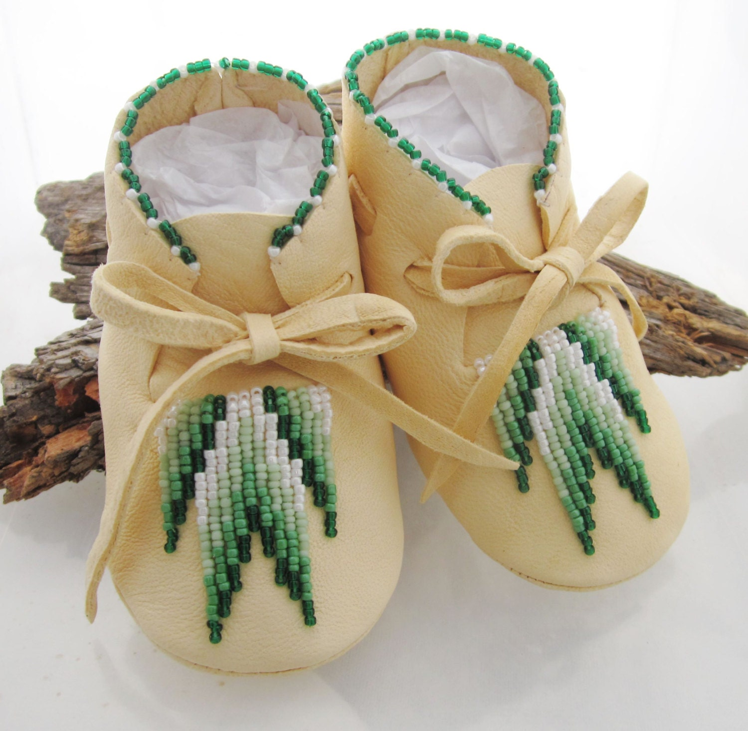 Authentic Native American Baby Moccasin White Leather Boys