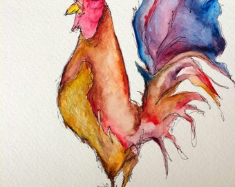 "rooster. [original watercolor] farm art. kitchen art. 9"" x 12"". colorful rooster painting. rooster watercolor."