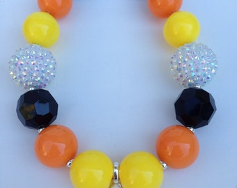 Candy corn chunky necklace, Halloween chunky necklace