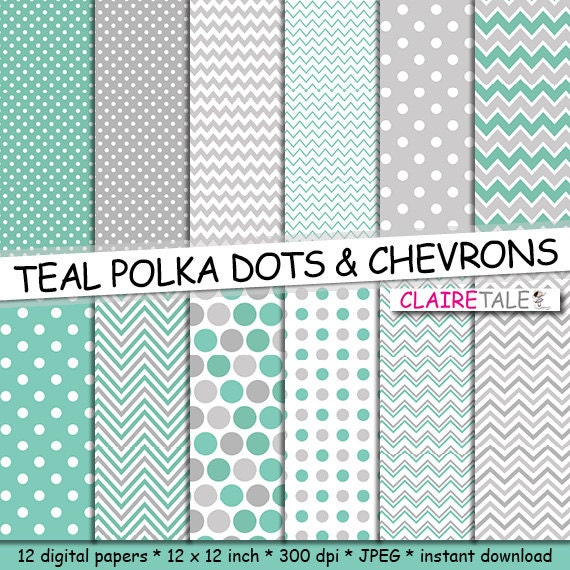 Teal Digital Paper: TEAL Polka Dots And Chevrons By ClaireTALE