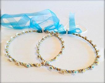 Wedding Crowns.Porcelain Stefana.Orthodox Crowns.Burlap Porcelain Headband.Bridal Crowns.Rustic romantic wreath.Στεφανα.CHAMOMILE