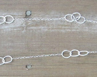 Long Silver Necklace, Hammered Silver Hoops, Argentium Silver Chain, 33""