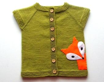 Knit kids fox vest moss green vest green wool baby vest MADE TO ORDER