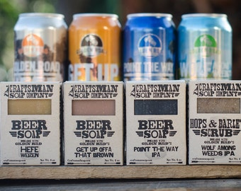Beer Soap Gift Set, Four Bars. Vegan Palm-Free Soap. 100% All-Natural Handmade.