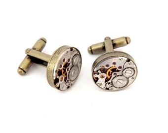 Steampunk Watch Cufflinks, Vintage Clockwork Watch Movement Cuff Links - Antique Bronze Colour.