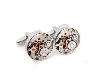 Silver Steampunk Watch Cufflinks, Vintage Clockwork Watch Movement Cuff Links