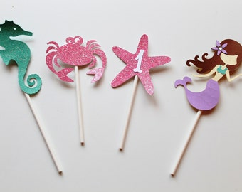 Under the Sea Cupcake Toppers - Set of 12 - Under the Sea Birthday - Mermaid Party - Mermaid Decorations