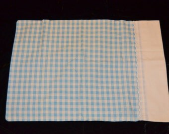 Blue and White Gingham Pillow Case - Reclaimed Bed Linen