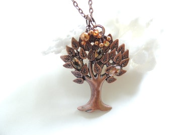 Copper Tree of Life Necklace, Copper Necklace, Tree of Life Pendant Necklace, Fall Fashion Jewelry, Fall Jewelry, Gift Idea.  Item194