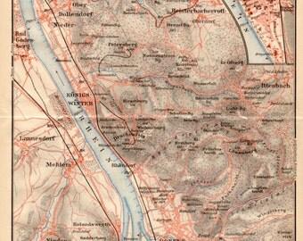 1909 Königswinter Map, Germany, North Rhine-Westphalia, Königswinter, Deutschland, Nordrhein-Westfalen, Bad Godesberg, Antique Map