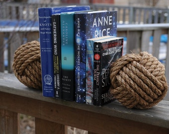 Nautical Bookends - Rope Bookends - Nautical Gift - Monkey Fist Knot Bookends - Bookends - (this is for a pair)