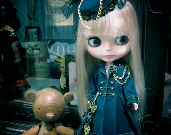 Blythe gothic navy blue air force  military  steam punk  dress outfit