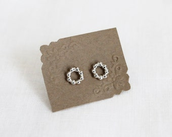 Sterling Silver Beaded Circle Stud Earrings.  Classic, Timeless Earrings. Simple, Everyday Jewelry.