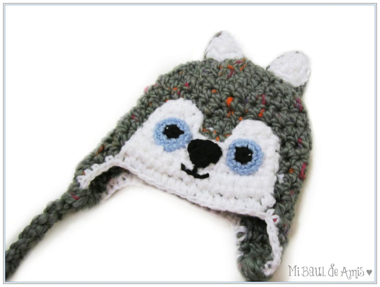 Amigurumi Earflap Hat : Newborn Crochet Wolf Hat with Earflap Grey Wolf Beanie