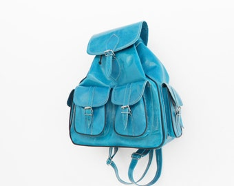 Leather Turquoise Blue Backpack Medium,School Bag for Men Women Girls ...