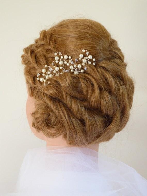 Bridal Hair With Pins : Pearl bridal hair crystal wedding