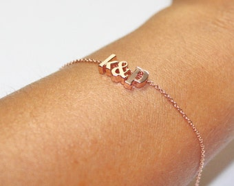 Letters Bracelet,Alphabets Letters Bracelet, Two Initial  Ampersand , Rose Gold Necklace.Rose Gold Letters Bracelet,His And Her Initial,