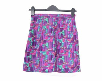 90s printed skirt, purple rave high waisted straight skirt, cyber multicolored abstract graphic XS S / Jupe taille haute années 90 noire